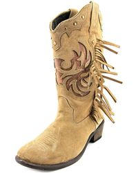 Roper - Fringes Women Round Toe Suede Tan Western Boot - Lyst
