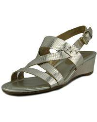 Chaps - Reesa Women Open Toe Synthetic Gold Wedge Sandal - Lyst