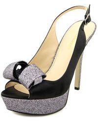 Enzo Angiolini - Trace Women Open-toe Canvas Black Slingback Heel - Lyst