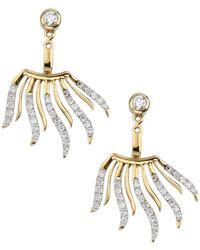 Socheec | Fan Shaped Pave Diamond Earring | Lyst