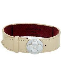 Louis Vuitton - Beige Monogram Mat Vernis Leather Goodluck Bracelet - Lyst