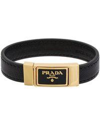 Prada Saffiano Leather Logo Bracelet Lyst
