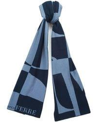 Gianfranco Ferré - Scr 01950 Navy/light Blue Knitted Wool Blend Mens Scarf - Lyst