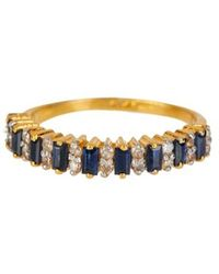 Vanhi - 0.50cts Diamond And Bagutte Sapphire Ring In 18k Gold Over Sterling Silver - Lyst