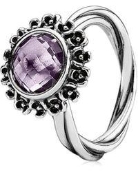 PANDORA - Floral Elegance Silver Amethyst Ring - Lyst
