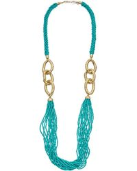 Kenneth Jay Lane - Plated Seed Bead Necklace - Lyst