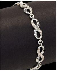 Lois Hill - Silver 0.20 Ct. Tw. Diamond Scroll & Endless Knot Bracelet - Lyst