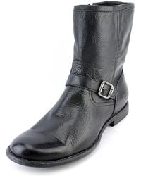 Frye - Phillip Inside Zip Men Round Toe Leather Black Mid Calf Boot - Lyst