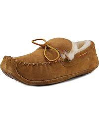 Acorn - Sheepskin Moxie Moc Men Moc Toe Leather Brown Slipper - Lyst