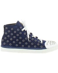Cesare Paciotti - Men's Blue Suede Hi Top Sneakers - Lyst