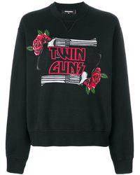 DSquared² - Women's S75gu0176s25030900 Black Cotton Sweatshirt - Lyst