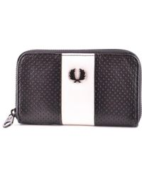 Fred Perry - Men's Black Leather Wallet - Lyst