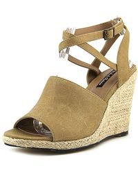 Michael Antonio - Allie Open Toe Synthetic Wedge Sandal - Lyst