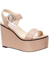 194f6166633a0 Jimmy Choo - Nylah 100 Crystal Buckle Leather Platform Sandal - Lyst