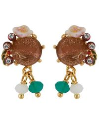 Les Nereides - Forest's Secret Faceted Glass, Little Flower And Berries Earrings - Lyst