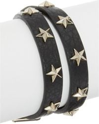 RED Valentino | Star Studded Leather Double Wrap Bracelet | Lyst