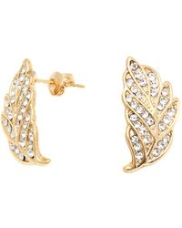 Peermont - Gold And Swarovski Elements Leaf Earrings - Lyst