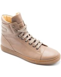 Brunello Cucinelli - Brown Leather Lace High Top Sneakers - Lyst