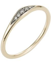 Jewelista - Diamond Tapered Ring In 14k Yellow Gold - Lyst