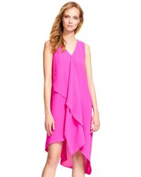 Adrianna Papell - Sleeveless Shift Dress With Asymmetrical Waterfall Ruffle - Lyst