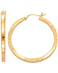 Jewelry Affairs - 14k Yellow Gold Diamond Cut Square Tube Hoop Earrings, Diameter 35mm - Lyst