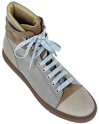 Brunello Cucinelli - Brown Leather Suede High Top Trainers - Lyst