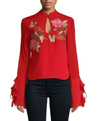Millie Mackintosh - Rose Embroidery Keyhole Blouse - Lyst