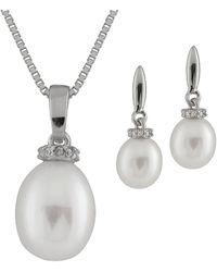 Splendid - Cz And Pearl Pendant & Earring Set - Lyst