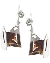 Jewelista - Smoky Quartz & Sterling Silver Earrings - Lyst