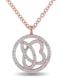 Julianna B - 1/3 Ct Diamond Tw And 14k Pink Gold Necklace - Lyst