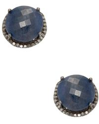 Adornia - Blue Sapphire And Champagne Diamond Echo Stud Earrings - Lyst