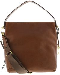 Fossil - Women's Maya Small Leather Cross Body Bag Hobo - Brown - Lyst