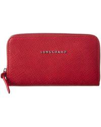 Longchamp - Leather Zip Around Wallet - Lyst