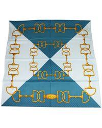 f32cc57242a ... Blue Interlocking Chain Print Multicolor Silk Twill Scarf 327374 1969 -  Lyst · Gucci - Women s Ssima Horsebit Chainlink Teal Gold Silk Large Scarf  ...