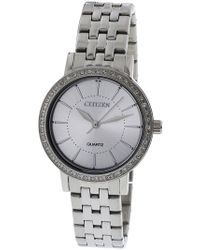 Citizen - Women's El3040-80a Silver Stainless-steel Japanese Quartz Fashion Watch - Lyst