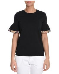 Burberry - Women's Black Cotton T-shirt - Lyst