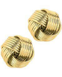 JewelryAffairs   14k Yellow Gold Shiny 6 Row Love Knot Stud Earrings, 12mm   Lyst