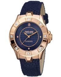 Roberto Cavalli - Diamond Bezel Swiss Made Women's Swiss Quartz Dark Blue Leather Strap Watch - Lyst