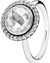 PANDORA - Silver Cz Brilliant Legacy Ring - Lyst
