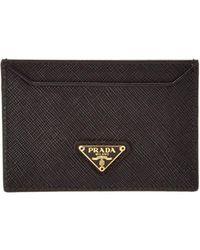 Prada - Saffiano Leather Credit Card Holder - Lyst