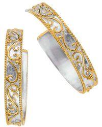Jewelista - Sterling Silver & Gold Overlay Earrings - Lyst