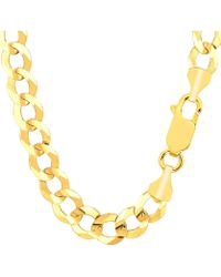 Jewelry Affairs - 14k Yellow Solid Gold Comfort Curb Chain, 10.0mm, 8.5 - Lyst