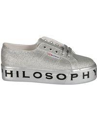 Philosophy - Women's Silver Polyurethane Sneakers - Lyst