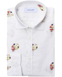Aglini - Men's White Cotton Shirt - Lyst