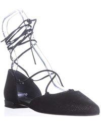 Stuart Weitzman - Gilligan Lace Up Ballet Flats, Black Goose Bump - Lyst