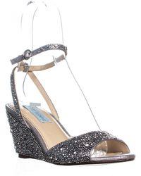 Betsey Johnson - Blue Elora Wedge Sandals, Silver - Lyst