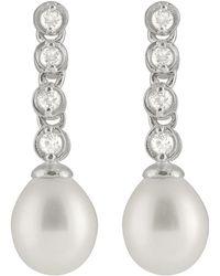 Splendid - Bezel Cz Pearl Earrings - Lyst