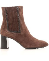 Tod's - Women's Brown Suede Ankle Boots - Lyst