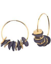 Jewelista - 24k Gold Plated Brass & Ceramic Hoop Earrings - Lyst