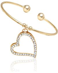 Peermont - Gold And Swarovski Elements Open Heart Charm Bangle - Lyst